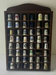 Large Collection Of 48 Highly Collectible Souvenir And China Thimbles With Shelf