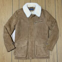 Polo Shearling Car Jacket Coat Brown Suede Leather Mens Size Small