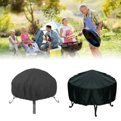 34-inch Patio Round Fire Pit Cover Waterproofcover Black Uv Protector Grill Bbq