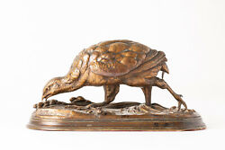 Antique 19th Century French Bronze Sculpture Of Partridge By Jules Moigniez