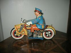 Great Looking Rare 1933 Motorcycle Cop Unique Art Tin Wind Up Tinplate Toy U.s.a