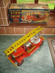 Big Mettoy Fire Engine And Box 1940's Tinplate Working Wind Up Nice Tin Toy No Car