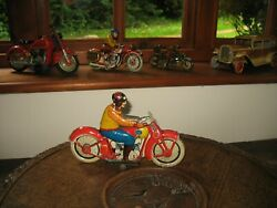 Super Looking Jml Motorcycle France C.1930 Rare Tin Toy Wind Up Vintage Tinplate
