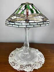 """Antique Stained Glass Dragonfly Lamp Shade Rich Green Red White 11.5"""" D"""