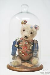 Glass Dome With Vintage Teddy Bear And Political Buttons Asst Vintage 21932