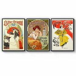 Set Of Vintage French Bitter Adverts Wall Art