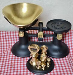 Vintage English Boots Kitchen Scales 7 Brass Bell Weights On Stand