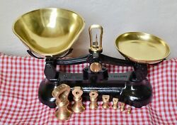 Vintage English Libra Glossy Black Kitchen Scales 7 Brass Bell Weights