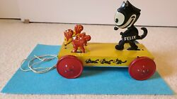 Vintage Tin Litho Felix The Cat Mechanical Pull Toy Nifty Chein Pat Sullivan