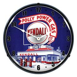 Kendall Polly Power Gas Station 14 Led Wall Clock