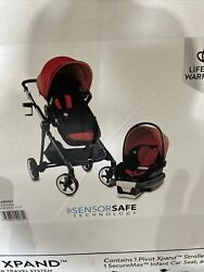 Evenflo Gold Pivot Xpand Smart Modular Travel System Red Stroller With Car Seat