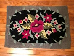 Antique Primitive Country Hooked Rug Burlap 34 1/2 X 23 Rectangle Hand Made
