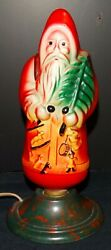 Vintage Painted Christmas Santa Claus Electric Light Bulb W/ Stand - Working
