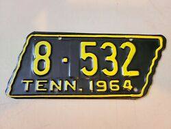 Vintage 1964 Tennessee - State Shaped - Motorcycle License Plate Nos 8 - 532