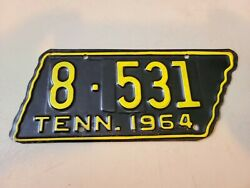 Vintage 1964 Tennessee - State Shaped - Motorcycle License Plate Nos 8 - 531