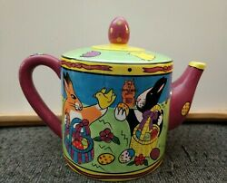 Catzillaby Candace Reiter-2001 Large Teapot W/easter Design-excellent Condtion