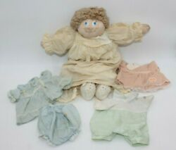 Vintage Cabbage Patch Kid Handmade Brown Hair Clothes Cloth Face Popcorn Baby