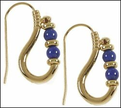 Historic Reproduction Of Ptolemaic Lapis Earrings 24 Karat Gold Plated
