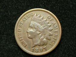 Summer Sale Vf-xf 1897 Indian Head Cent Penny W/ Full Liberty And Diamonds 169w