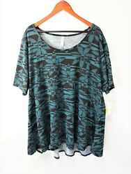 Lularoe - Perfect T - Size 3xl - Teal And Black Floral Pattern - Nwt