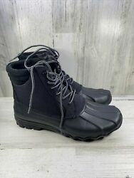 Sperry Top-sider Duck Boots Mens Sz 10 Black Water Resistant