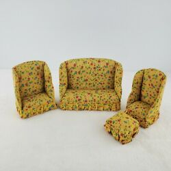 Vintage Dollhouse Furniture Couch - Chairs - Ottoman Living Room Yellow Floral