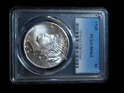 1928-p 1 Silver Peace Dollar- Pcgs Ms63- Rare Key Date In Mint State