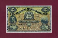 Scotland The National Bank 5 Pounds 1953 P-259 Extremely Fine Note