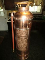 Old Childs Fire Extinguisher . 24andrdquo Excellent Patina And Condition W Glass Empty