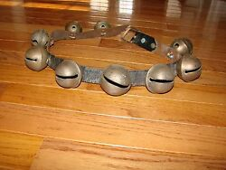 Sleigh Bells Antique Brass Leather Belt Primitive Country Farm Horse 2 Signed Hs
