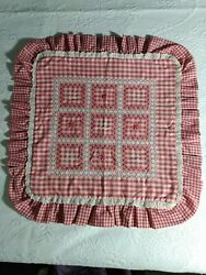 Vintage Pillow Sham Cover Red Gingham Chicken Scratch Embroidery Country Cottage