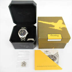 Breitling Super Ocean A17340 Date Blue Dial Automatic Menand039s Watch Overhauled Ex+