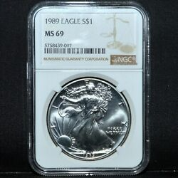1989 1 Silver American Eagle ✪ Ngc Ms-69 ✪ Plain Brown Label 097 L@@k ◢trusted◣