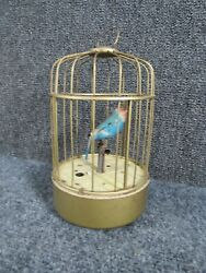 Antique 1940s Japanese Tin And Brass Music Box Bird Cage