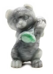 China 1920 Post Qing Dynasty Exceptional Grey Jade Sculpture Carving Of Kitten