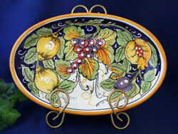 Vietri Italian Pottery Oval Serving Dish Lemons Grapes Painted By Hand In Italy
