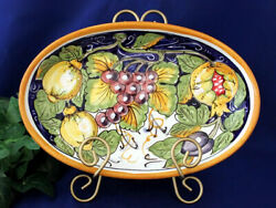 Vietri Italian Pottery Oval Serving Dish Lemons Grapes Painted by Hand in Italy $58.97