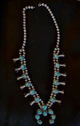 Vintage Beaded Silver And Cripple Creek Turquoise Squash Blossom Necklace