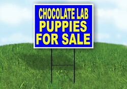 Chocolate Lab Puppies For Sale Yellow Blue Yard Sign Road With Stand Lawn Sign