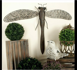 Large Metal Dragonfly Wall Art Sculpture Indoor Outdoor Rustic Farmhouse Patio