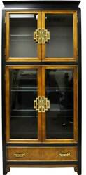 1970s Chinoiserie China Display Curio In Burlwood By Century Furniture