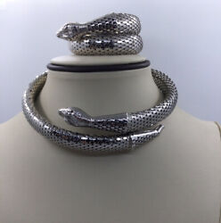 Vintage Whiting And Davis Matching Silvertone Snake Necklace And Bracelet- C851
