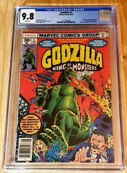 Godzilla 1 Aug 1977 Cgc 9.8 Nm/mt White Pages Marvel King Of Monsters 🔥🔥🔥