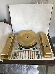 Moroso Gold Valve Covers And Air Cleaner 350 Chevy 327 283 Sbc Small Block Chev