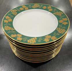 Crate And Barrel 12 Monno Bangladesh Gold Grape And Leaves Dinner Plates 10 3/8