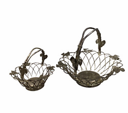2 Vintage Godinger Silver Plated Wire Baskets Leaves Movable Handle Patina