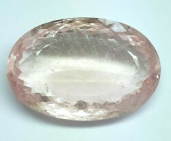 146.20 Cts Gtl Certified Natural Pink Morganite Faceted 43x28 Mm Oval Shape