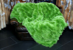 2382 Real Fox Fur Throw Made With Green Shadow Fox Sides Blanket Plaid Real Skin