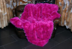 2383 Shadow Fox Fur Throw Made With Pink Fox Sides Real Skin Blanket Plaid