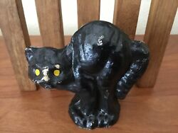 Vintage Paper Mache Pulp Halloween Arched Back Black Cat With Yellow Eyes B